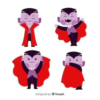 Niedlicher dracula-vampir mit rotem umhang