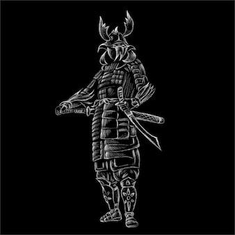 Niedlicher druckstil-samurai-hintergrund.