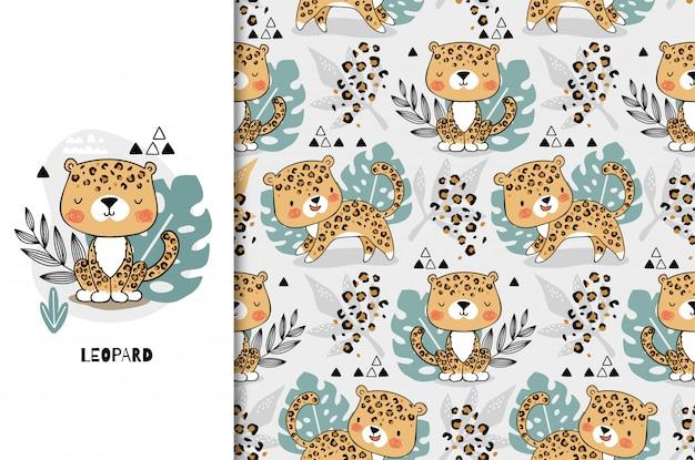 Niedlicher dschungelbabytiercharakter des leoparden. kinderkartenschablone und nahtloses hintergrundmusterset. hand gezeichnete karikaturoberflächendesignillustration.