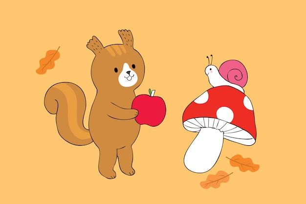 Niedlicher eichhörnchen- und schnecken- und apfelvektor der karikatur.
