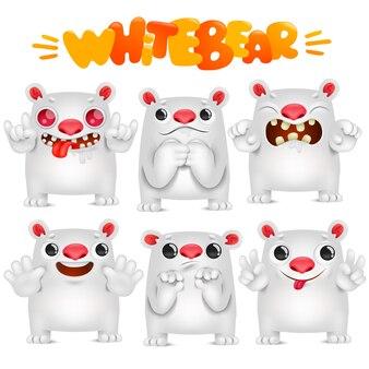 Niedlicher eisbär-cartoon emoticoncharakter in der verschiedenen gefühlsammlung