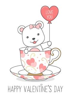 Niedlicher eisbär in einer tasse, die ballon valentinstag hält