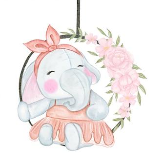 Niedlicher elefant, der auf einer blumenschaukel sitzt