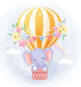 Niedlicher elefant, der mit luftballon fliegt