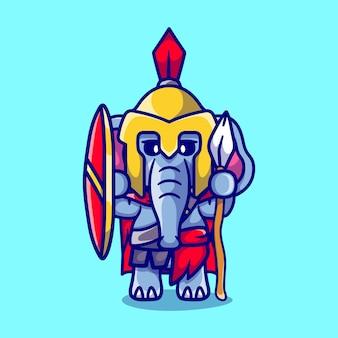 Niedlicher elefant gladiator spartanisch mit schild und speer