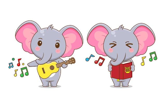 Niedlicher elefantcharakter, der musik spielt und isoliert singt.