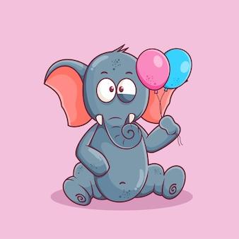 Niedlicher elefantenkarikatur, der ballonillustration hält