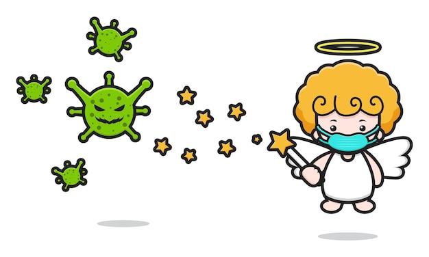Niedlicher engel maskottchen charakter kampf gegen virus cartoon vektor icon illustration. entwurf getrennt auf weiß. flacher cartoon-stil.