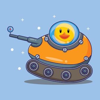 Niedlicher entenreitpanzer hergestellt von egg cartoon vector illustration. freies designkonzept isoliert premium-vektor