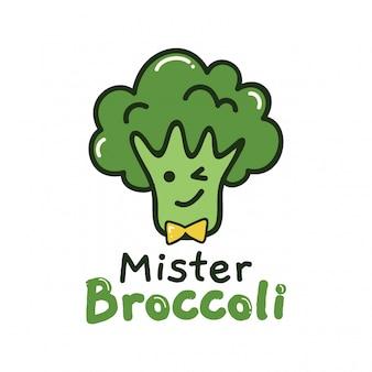 Niedlicher entwurf mit grünem brocolli