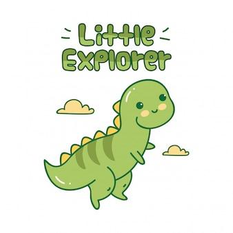 Niedlicher entwurf mit kleinem dinosaurier