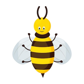 Niedlicher entzückender bienencharakter im cartoon-stil