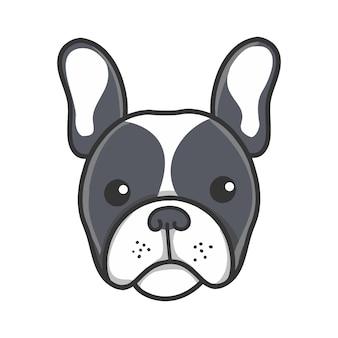 Niedlicher entzückender schwarzer frenchie-welpen-cartoon-kopf der französischen bulldogge.