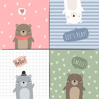 Niedlicher entzückender teddybär-eisbär-cartoon-gekritzelkartensatz