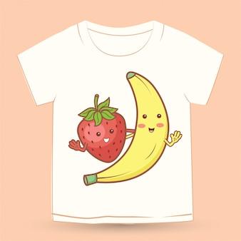 Niedlicher erdbeer- und bananen-cartoon für t-shirt