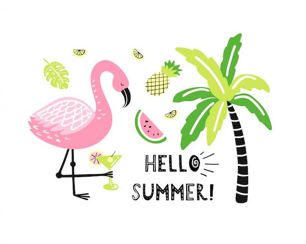 Niedlicher flamingo, palme, wassermelone, ananas.