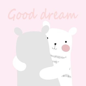Niedlicher frühling teddybär sagen gute traumgekritzelkunst