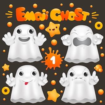 Niedlicher geist-cartoon-emoji-charakter in der verschiedenen gefühlsammlung