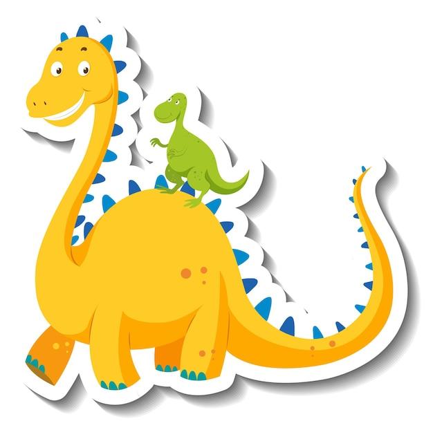 Niedlicher gelber dinosaurier-cartoon-charakter-aufkleber