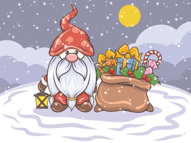 Niedlicher gnom, der solarlaterne und geschenksack hält - weihnachtsillustration