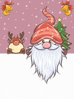 Niedlicher gnom und niedliche hirschkarikaturfigur auf weihnachtsillustration