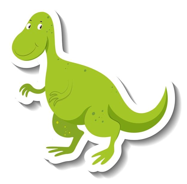 Niedlicher grüner dinosaurier-cartoon-charakter-aufkleber