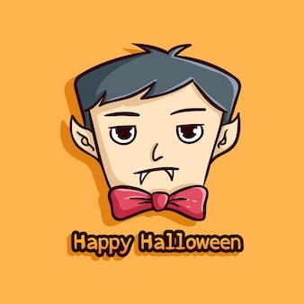 Niedlicher halloween-vampir auf orange hintergrund