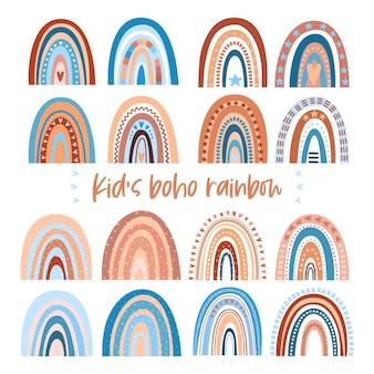 Niedlicher handgezeichneter baby-regenbogen im boho-stil für partydekoration, druck, babystoff, tapete, textildesign. zeitgenössische vektorillustration.