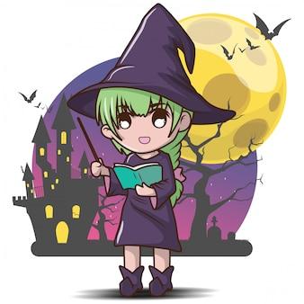 Niedlicher hexen-halloween-halloween-inhalt