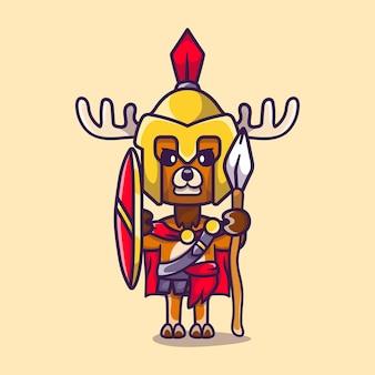 Niedlicher hirschgladiator spartanisch mit schild und speer