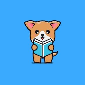 Niedlicher hund, der buchkarikaturillustration liest