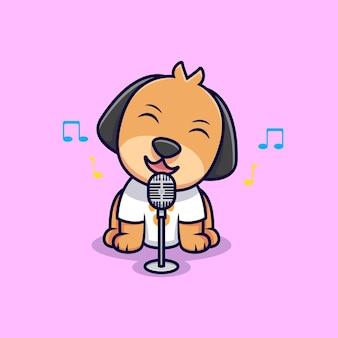 Niedlicher hund, der karikatur-symbol-illustration singt. flacher cartoon-stil