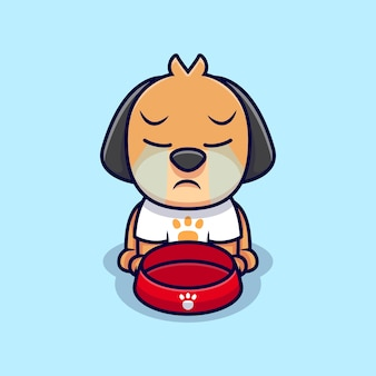 Niedlicher hund, der karikatur-symbol-illustration weint. flacher cartoon-stil