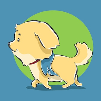 Niedlicher hund, der karikaturikonenillustration joggt