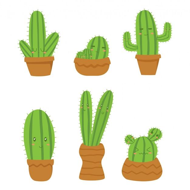 Niedlicher kaktus auf blumentopf-karikaturvektor, mit lustigen gesichtern.