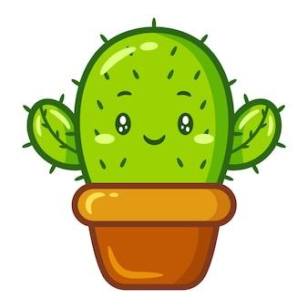 Niedlicher kaktus, der aufkleber zeichnet