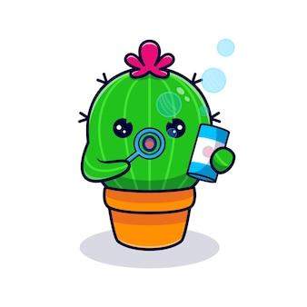Niedlicher kaktus, der blase bläst. flacher cartoon