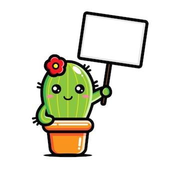 Niedlicher kaktus, der eine leere texttafel hält
