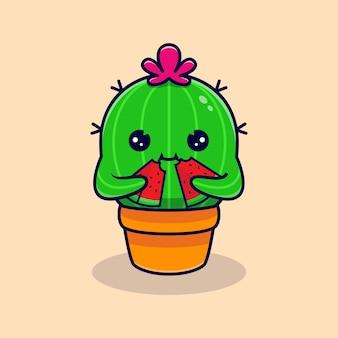 Niedlicher kaktus, der wassermelone isst. flacher cartoon
