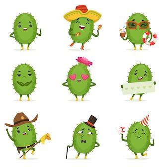 Niedlicher kaktus-zeichentrickfiguren-satz, kakteenaktivitäten mit verschiedenen emotionen und posen, bunte detaillierte illustrationen