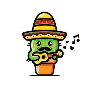 Niedlicher kaktusentwurf, der ukulele spielt
