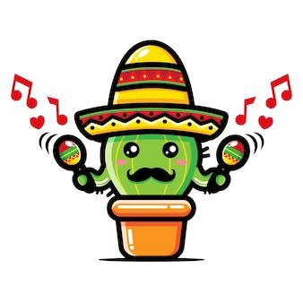 Niedlicher kaktusentwurf spielt maracas