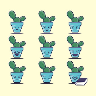 Niedlicher kaktusikonsatz, illustration. sauberes symbolkonzept. flacher cartoon-stil
