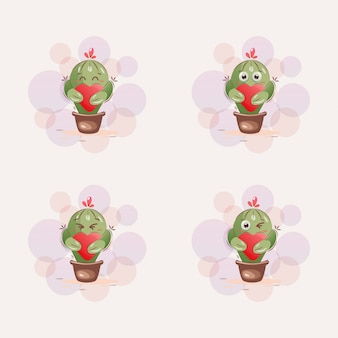 Niedlicher kaktusmaskottchen-cartoon