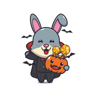 Niedlicher kaninchen-vampir, der halloween-kürbis hält süße halloween-cartoon-illustration