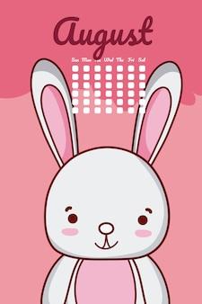 Niedlicher kaninchenkalender mit tagen und monat