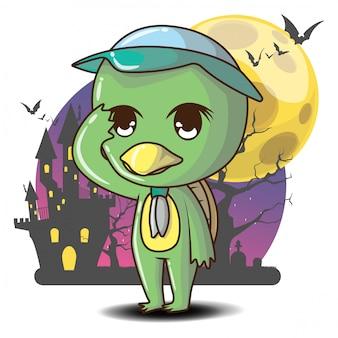 Niedlicher kappa-geist-cartoon, kappa-haushaltsgöttlichkeit der japanischen volksreligion. halloween-konzept.