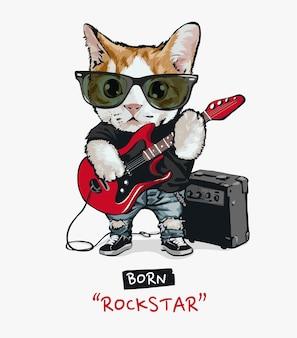 Niedlicher katzenrockstar, der gitarrenillustration spielt