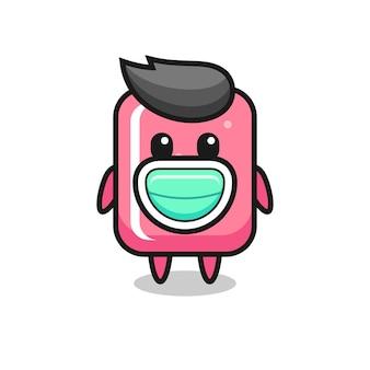 Niedlicher kaugummi-cartoon, der eine maske trägt, niedliches design für t-shirt, aufkleber, logo-element