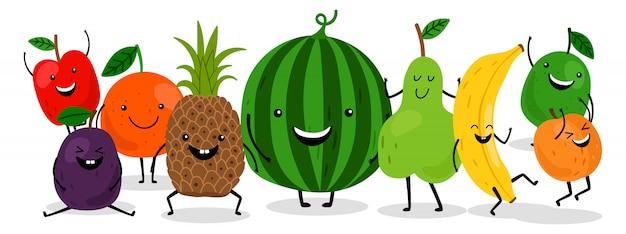 Niedlicher kawaii fruchtcharakteresatz. glückliche fruchtillustration